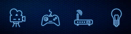 Set line Router and wi-fi signal, Retro cinema camera, Gamepad and Light bulb with concept of idea. Glowing neon icon on brick wall. Vector