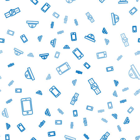 Set line Smartphone, mobile phone, Smartwatch and Motion sensor on seamless pattern. Vector