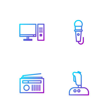 Set line Joystick for arcade machine, Radio with antenna, Computer monitor and Microphone. Gradient color icons. Vector