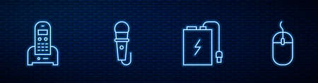 Set line Power bank with charge cable, Telephone, Microphone and Computer mouse. Glowing neon icon on brick wall. Vector 일러스트