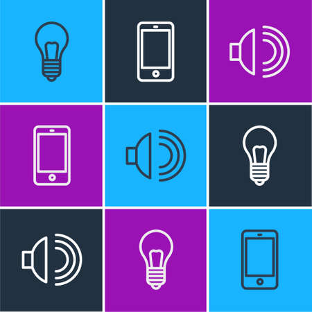 Set line Light bulb with concept of idea, Speaker volume and Smartphone, mobile phone icon. Vector
