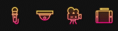 Set line Retro cinema camera, Microphone, Motion sensor and Graphic tablet. Glowing neon icon. Vector