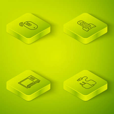 Set Isometric Telephone, Microwave oven, Charger and Wireless computer mouse icon. Vector Stock Illustratie