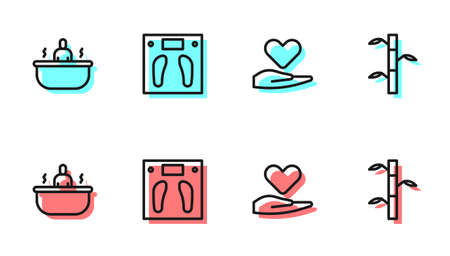 Set line Heart on hand, Bathtub, Bathroom scales and Bamboo stems with leaves icon. Vector