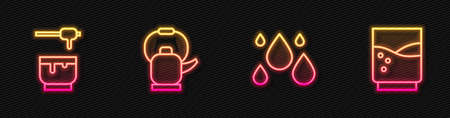 Set line Water drop, Honey dipper stick and bowl, Kettle with handle and Glass water. Glowing neon icon. Vector