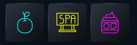 Set line Apple, Cream or lotion cosmetic tube and Spa salon signboard. Black square button. Vector