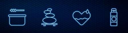 Set line Heart heal, Sauna bucket and ladle, Stack hot stones and Cream or lotion cosmetic tube. Glowing neon icon on brick wall. Vector 일러스트
