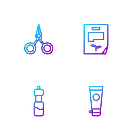 Set line Cream or lotion cosmetic tube, Bottle of water, Scissors and Leaf document. Gradient color icons. Vector