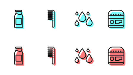 Set line Water drop, Bottle with milk, Hairbrush and Cream or lotion cosmetic tube icon. Vector