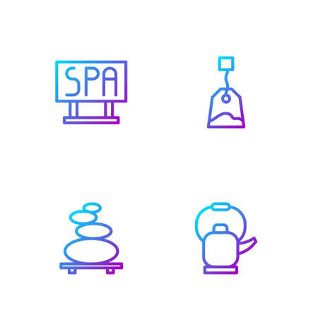 Set line Kettle with handle, Stack hot stones, Spa salon signboard and Tea bag. Gradient color icons. Vector