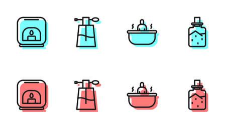 Set line Bathtub, Aroma lamp, Perfume and Spa salt icon. Vector