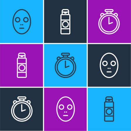 Set line Facial cosmetic mask, Stopwatch and Cream or lotion tube icon. Vector 일러스트
