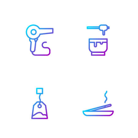 Set line Scented spa stick, Tea bag, Hair dryer and Honey dipper and bowl. Gradient color icons. Vector