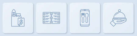Set line Online ordering and delivery, , Restaurant cafe menu and Covered with tray of food. White square button. Vector