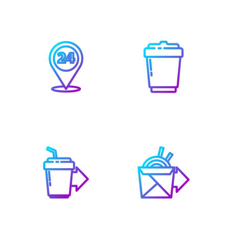Set line Online ordering noodles delivery, Coffee cup to go, Round the clock and . Gradient color icons. Vector