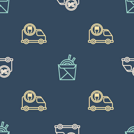 Set line Fast delivery by car, and Asian noodles and chopsticks on seamless pattern. Vector 일러스트