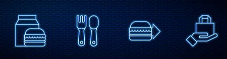Set line Online ordering burger delivery, and, Fork spoon and . Glowing neon icon on brick wall. Vector 일러스트
