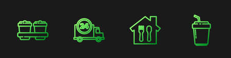 Set line Online ordering and delivery, Coffee cup to go, Fast by car and . Gradient color icons. Vector