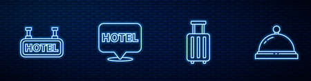 Set line Suitcase, Signboard with text Hotel, Location hotel and service bell. Glowing neon icon on brick wall. Vector