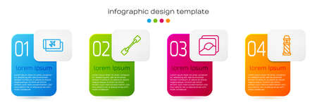 Set line Airline ticket, Paddle, Photo and Lighthouse. Business infographic template. Vector