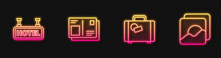 Set line Suitcase, Signboard with text Hotel, Passport visa stamp and Photo. Glowing neon icon. Vector