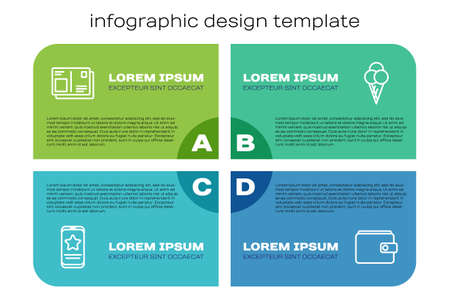 Set line Mobile with review rating, Passport visa stamp, Wallet and Ice cream waffle cone. Business infographic template. Vector