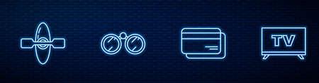 Set line Credit card, Kayak or canoe, Binoculars and Smart Tv. Glowing neon icon on brick wall. Vector 일러스트