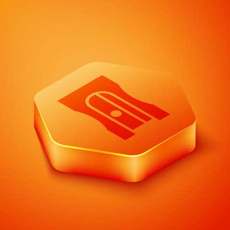 Isometric Pencil sharpener icon isolated on orange background. Orange hexagon button. Vector Illustration Illusztráció
