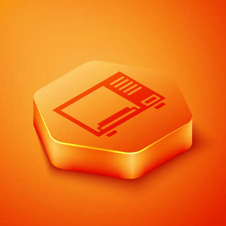 Isometric Microwave oven icon isolated on orange background. Home appliances icon. Orange hexagon button. Vector Illustration