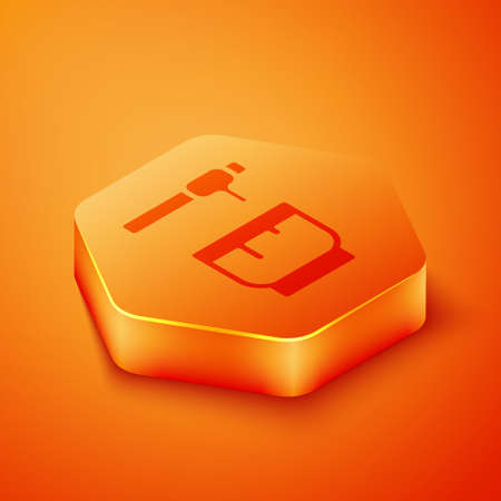 Isometric Honey dipper stick and bowl icon isolated on orange background. Honey ladle. Orange hexagon button. Vector Illustration