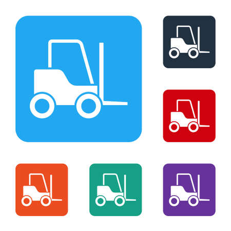 White Forklift truck icon isolated on white background. Fork loader and cardboard box. Cargo delivery, shipping, transportation. Set icons in color square buttons. Vector Illustration