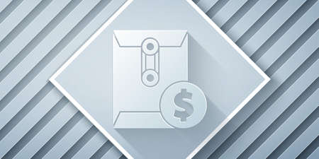 Paper cut Envelope with coin dollar symbol icon isolated on grey background. Salary increase, money payroll, compensation income. Paper art style. Vector Illustration