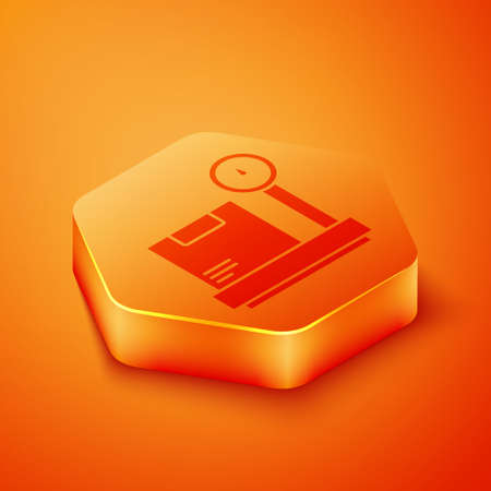 Isometric Scale with cardboard box icon isolated on orange background. Logistic and delivery. Weight of delivery package on a scale. Orange hexagon button. Vector Illustration Illusztráció