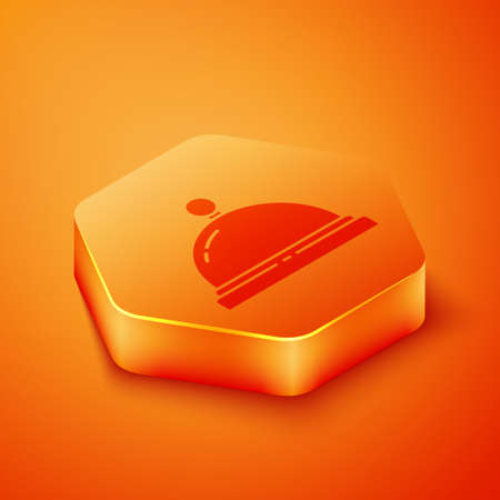 Isometric Hotel service bell icon isolated on orange background. Reception bell. Orange hexagon button. Vector Illustration