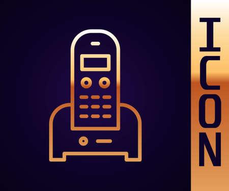 Gold line Telephone icon isolated on black background. Landline phone. Vector Illustration
