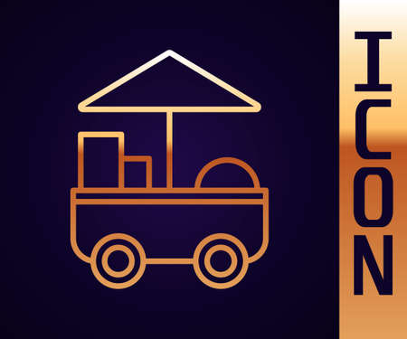 Gold line Fast street food cart icon isolated on black background. Urban kiosk. Vector Illustration
