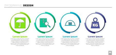 Set Umbrella, Envelope with magnifying glass, Hangar and Weight. Business infographic template. Vector