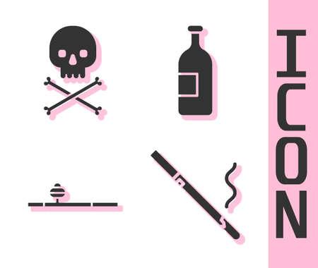 Set Cigarette, Skull on crossbones, Opium pipe and Alcohol drink bottle icon. Vector Ilustração
