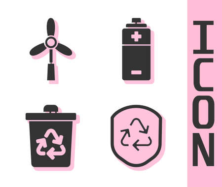 Set Recycle symbol inside shield, Wind turbine, Recycle bin with recycle and Battery icon. Vector Vettoriali