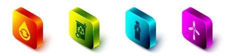 Set Isometric Recycle clean aqua, Recycle bin with recycle, Bottle of water and Wind turbine icon. Vector