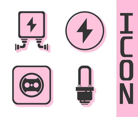 Set LED light bulb, Electric transformer, Electrical outlet and Lightning bolt icon. Vector
