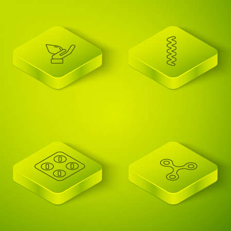 Set Isometric Virus, Pills in blister pack, and Washing hands with soap icon. Vector Banque d'images - 152559737