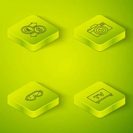 Set Isometric Photo camera, Ski goggles, Smart Tv and Money exchange icon. Vector