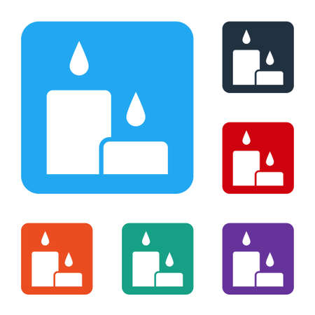 White Burning candle icon isolated on white background. Cylindrical candle stick with burning flame. Set icons in color square buttons. Vector Illustration