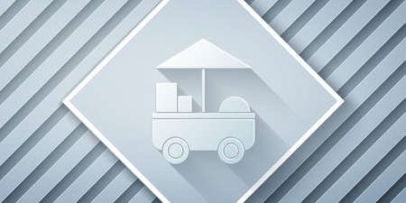 Paper cut Fast street food cart icon isolated on grey background. Urban kiosk. Paper art style. Vector Illustration