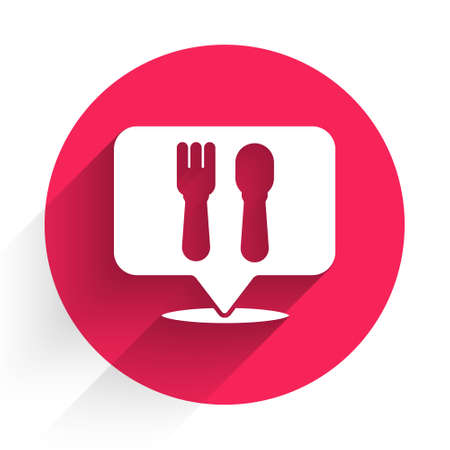 White Cafe and restaurant location icon isolated with long shadow. Fork and spoon eatery sign inside pinpoint. Red circle button. Vector Illustration.