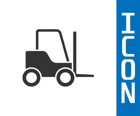 Grey Forklift truck icon isolated on white background. Fork loader and cardboard box. Cargo delivery, shipping, transportation. Vector Illustration
