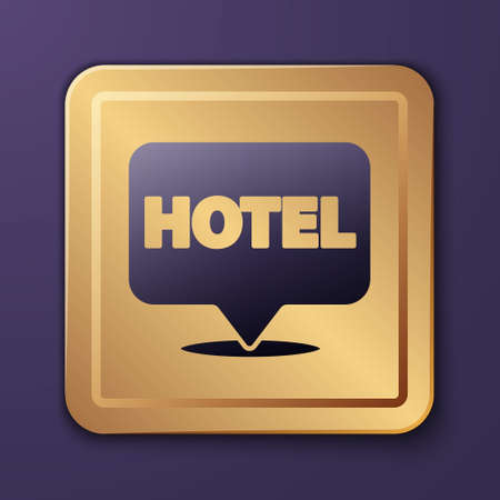 Purple Location hotel icon isolated on purple background. Concept symbol for hotel, hostel, travel, housing rent, real estate. Gold square button. Vector Illustration