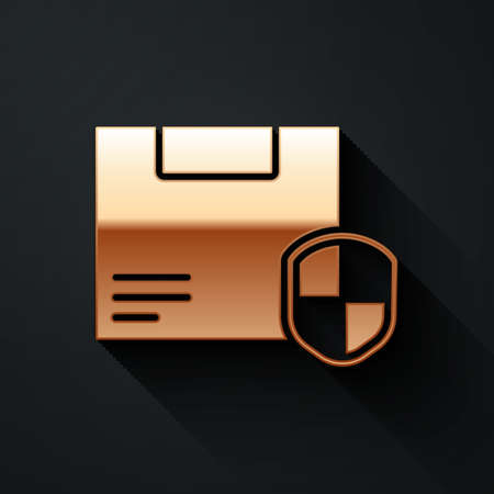 Gold Delivery security with shield icon isolated on black background. Delivery insurance. Insured cardboard boxes beyond the shield. Long shadow style. Vector Illustration