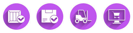 Set Wooden box with check mark, Package box with check mark, Forklift truck and Shopping cart on computer icon with long shadow. Vector